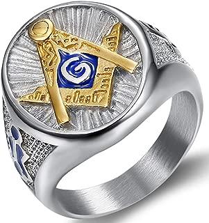 Stainless Steel Blue Gold Two Tone Masonic Master Mason Ring