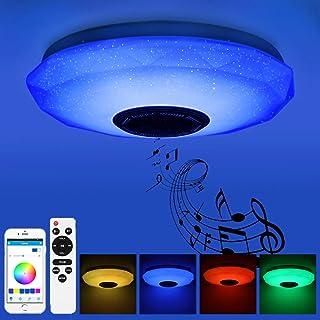 Prenine 36W LED Musik Deckenleuchte Dimmbar mit Bluetooth Lautsprecher 3400LM, RGB Farbwechsel, Musikwiedergabe, LED Decke...