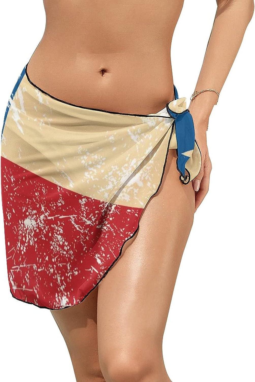 Women's Beach Sarongs Bikini Cover Ups Vintage Texas Flag Sheer Swimwear Short Skirt