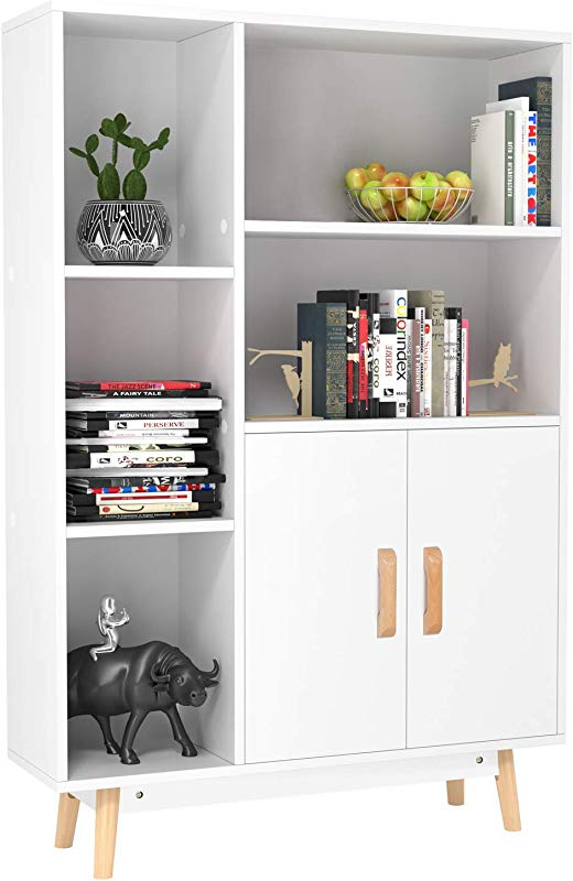 Homfa Floor Storage Cabinet Free Standing Wooden Display Bookcase With Double Doors 2 Shelves 3 Cubes And 4 Legs Side Cabinet Decor Furniture For Home Office White