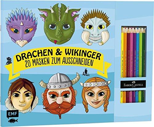 Drachen & Wikinger – 20 Masken zum Ausmalen und Ausschneiden: Mit 8 original Faber-Castell-Buntstiften
