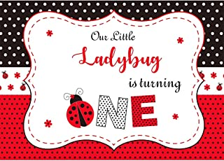 Allenjoy 7x5ft Ladybug Backdrop for Girls 1st First Birthday Our Little Ladybug is Turning one Photography Background Red and Black Polka Dot Banner Cake Table Decorations Photo Studio Booth