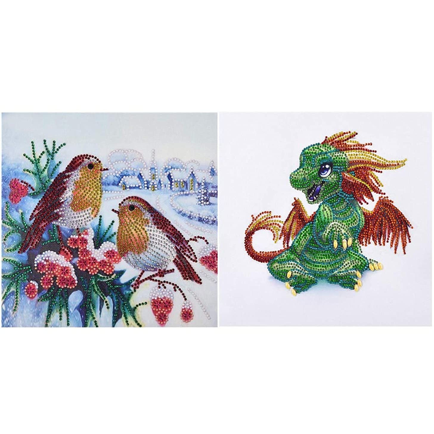 NIHAI 2Pcs/Set DIY 5D Diamond Painting Kit, Dragon and Little Bird Special Shaped Diamond Painting Embroidery Cross Stitch Crystal Rhinestone Arts Craft Canvas Home Wall Decor