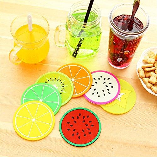 Silicone Round Drinks Coaster pour Coffee Tea Ensemble de 7, Fruit Images Nouveauté Table Mats et Coaster Feet Sets Placemat for Furniture