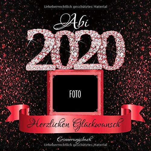 Abi 2020: Personalisiertes Gästebuch I Festliches Schwarz Rot Diamant Cover mit Fotorahmen I...