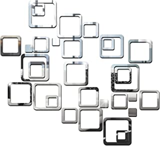 Wall1ders - Dakshita Decor 30 Six Size Square Silver 3D Acrylic Sticker, 3D Acrylic Stickers for Wall, 3D Mirror Wall Stic...