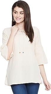 EVALONA Natural Solid Round Neck Bell Sleeve Cotton Flex Short Kurti for Women