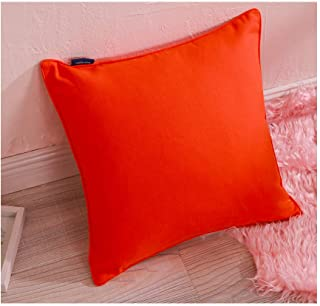 Decorative Pillowcase Couch Sofa Bed Orange Throw Pillow Cover with Piping 1PC 17x17 Cushion Pillow Shell Soft Cotton Canvas Solid Color Orangecoloured Both Sides 43x43cm