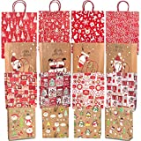 momok 16 Christmas Kraft Gift Bags with Handles Assorted Sizes Xmas Gift Package Paper Bags for Wrapping Gifts Holiday Party Elk Santa Claus Gift Shopping Bag - Medium Small Large Bulk Craft Bags