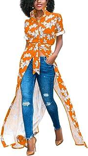 فساتين YSJERA النسائية بأزرار سفلية وياقة قابلة للطي بأكمام طويلة فستان طويل بفتحة جانبية
