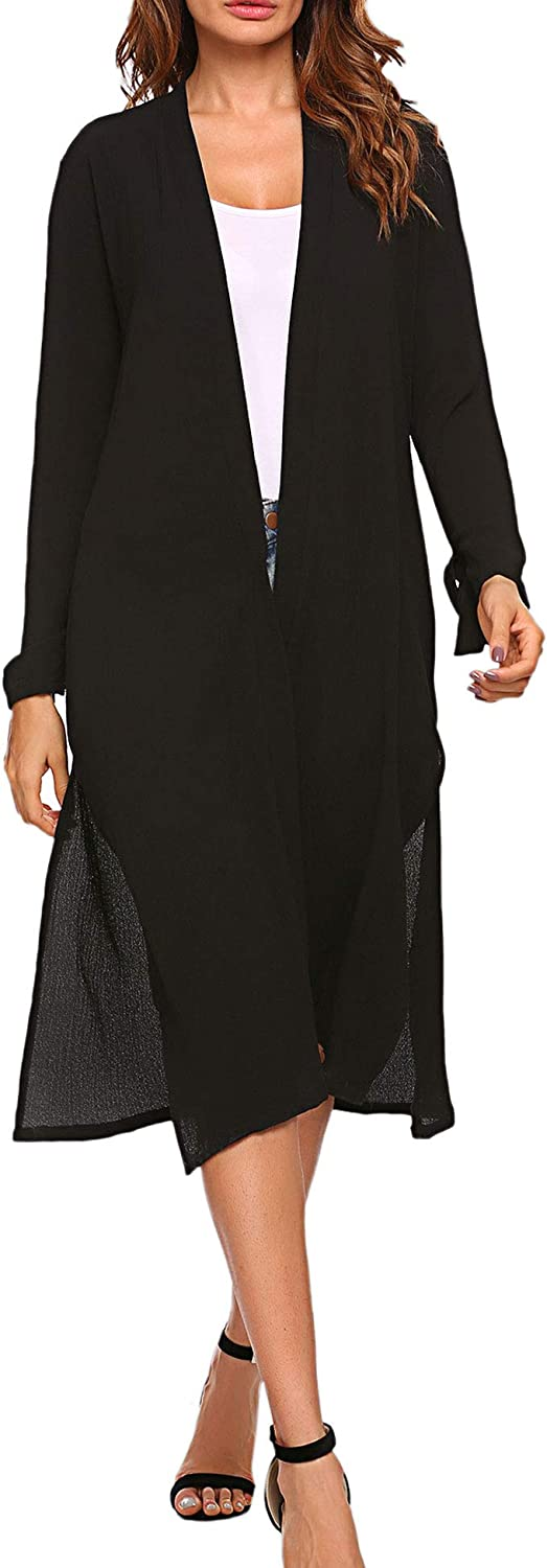 BEAUTEINE Womens Casual Split Open Front Long Maxi Cardigan with Long Sleeve