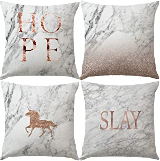 7ColorRoom Set of 4 Marble Pattern Pillow Covers with Horse &Hope Chic Elegant White and Rose Gold Marble Pattern Cushion Cover Home Decorative Square Cotton Linen Pillowcases 18
