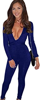 Women's Sexy Sparkly V Neck Long Sleeve Party Clubwear Bandage Romper Jumpsuit