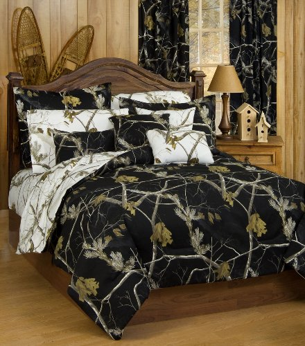 Realtree AP Black Camo 7 Pc King Reversible Comforter Set & AP White Camo Sheet Set - Includes: (1 King Reversible Comforter, 1 King Flat Sheet, 1 King Fitted Sheet, 2 Pillow Cases, 2 Pillow Shams)