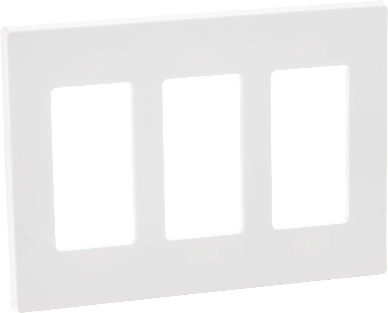 Leviton 80311-SW 3-Gang Decora Plus Wallplate Screwless Snap-On Mount, White