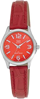 Q&Q Women's Orange Dial Leather Band Watch - C193J305Y