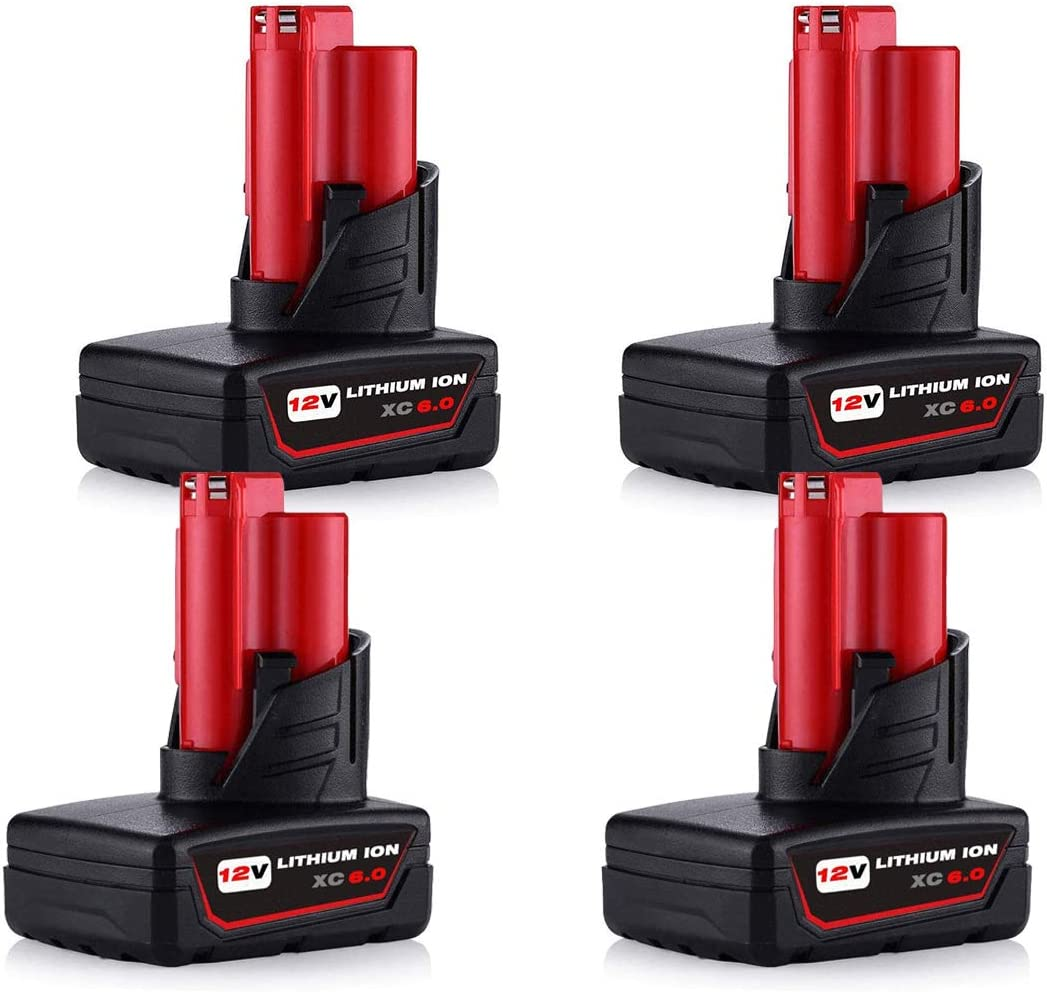 4-Pack 12V 毎日続々入荷 6.0Ah Lithium Replacement Battery 12Vol for お気にいる Milwaukee