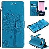 Ooboom® Motorola Moto E5 Plus Hülle Katze Baum Muster Flip PU Leder Schutzhülle Handy Tasche Hülle Cover Standfunktion mit Kartenfächer für Motorola Moto E5 Plus - Blau