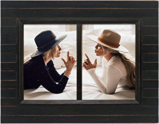 Eosglac 5x7 Collage Picture Frame Distressed Black, 2-Opening Timbermount Rustic Photo Frame with Wood Siding Look, Tabletop or Wall Display