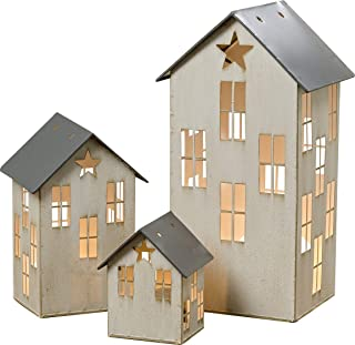 Americana Village Houses, Set of 3, Candle Lanterns, Star Detail, Vintage Style, Distressed Metal, Weathered White and Rustic Gray Finish, Metal, 14 3/4, 8 3/4, and 5 Inches Tall
