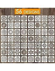 Outivity Mandala sjablonen voor het schilderen op hout, steen, stoffen, metaal, meubels en muren, flexibel en herbruikbaar, 9 cm x 9 cm, 56 stuks