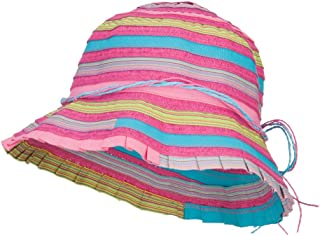Jeanne Simmons Girls Calico Striped Ribbon Bucket Hat Pink Purple OSFM