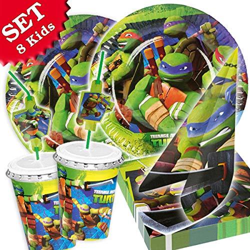 Ninja Turtles Party Set für 8 Kinder, 52-teilig zum Kindergeburtstag für Turtle-Fans