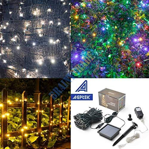 anne Gun 300 LED Solar String Lights 100ft Outdoor Fairy Lighting Xmas Party Tree Decor,Cool White+Solar Panel