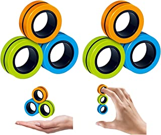 6 PCS Stress Relief Magnetic Rings - EDC Fidgeting Game for Autism ADHD Anxiety Relief Focus Decompression - Finger Fidget...