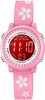 Venhoo Kids Watches for Girls 3D Cartoon Waterproof 7 Color Digital Child Toddler Wrist Watch for Little Girl Kids-Pink Sakura