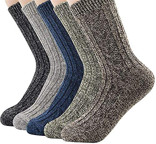 Century Star Womens Athletic Sports Knit Pattern Winter Wool Socks Crew Cut Cashmere Retro Warm Soft Socks 5 Pairs Solid Color 02 One Size