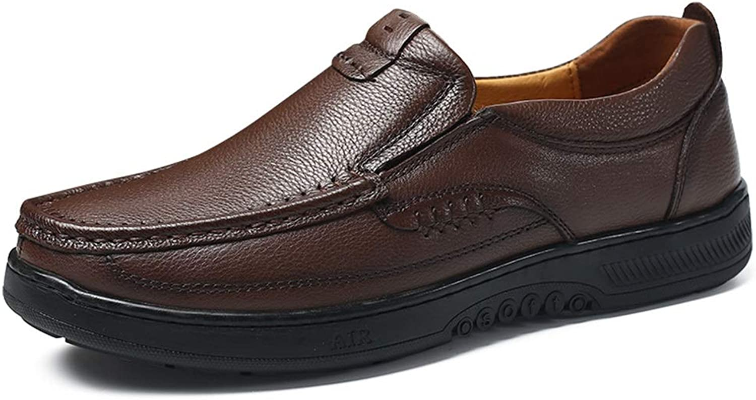 Leisure Driving Loafers for Men Round Toe Oxfords Casual Flat Penny shoes Leather Upper Slip On Stitch Walking Boat shoes Non-Slip (color   Darkbrown, Size   9.5 D(M) US)