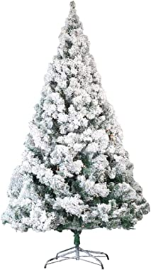 Homegear 7.5ft Artificial Snow Dusted Christmas Tree 1250 Tips with Metal Stand and Hinged Branches
