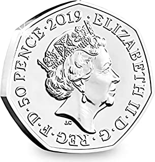 Peyan British 50 Pence Coin 2019 Queen Elizabeth II Commemorative Coin Novelty Coin Silver Plated