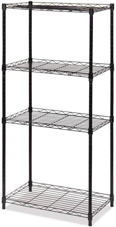 Kitchen Storage Rack 4-Tier Wire Shelving Metal Shelf Free-Standing Storage Organizer Unit Black 56x35x120cm Organisation