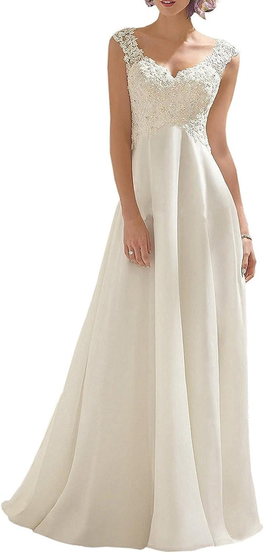 Alexzendra Women's Double VNeck Sleeveless Lace Beach Wedding Dress Plus Size