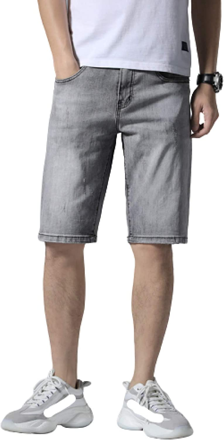Men's Denim Shorts Relaxed Fit Straight Leg Distressed Washed Cotton