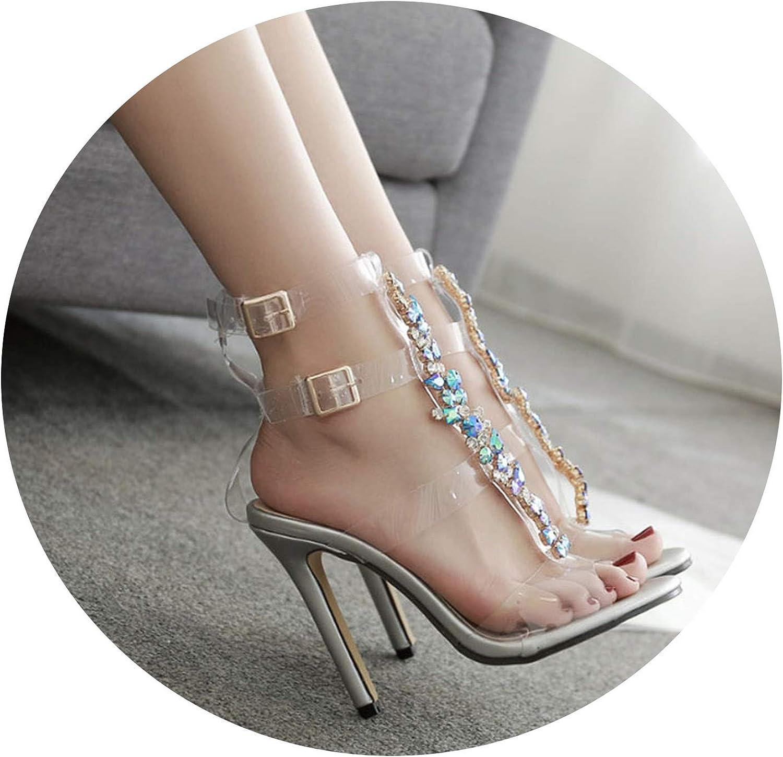 Sandals Women shoes Pumps Rhinestone Transparent PVC high-Heeled Sandals Women's high Heel
