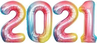 Rainbow 2021 Balloons for Graduation Decoration - Large, 40 Inch 2021 Number Balloons | Foil Mylar Graduation Balloons 202...