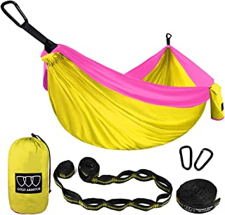 Gold Armour Camping Hammock - USA Brand Single Parachute Hammock (2 Tree Straps 16 LOOPS/10 FT Included) Lightweight Nylon Portable Adult Kids Hammock, Best Camping Accessories Gear