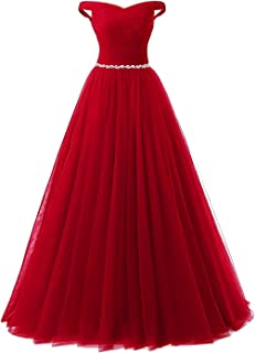 eb68696d3c9 APXPF Women s Long Tulle Crystal Formal Prom Dress Quinceanera Dress Ball  Gown