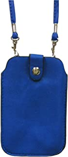 Leather Neck Pouch for Phone (Style 2) - Blue