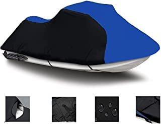 Black/Blue Super Heavy-Duty, PWC 600D Jet SKI Cover for Kawasaki STX-15F / JT1500A9F 2009 2010 2011 2012 2013 2014 2015 2016 2017