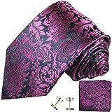 Paul Malone Krawatte schmal blau dunkelpink floral Set 3tlg - 100% Seide - Schmale Krawatte 6cm mit Einstecktuch und Manschettenknöpfe