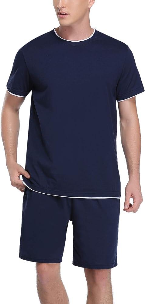 Hawiton, pigiama da uomo estivo, due pezzi,  100% cotone, b-blu scuro