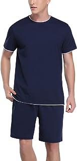 Hawiton Mens Pyjama Short Sleeve Top & Shorts Jersey Cotton Lounge Wear PJ Sets for Summer