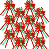 24 Pieces 8 Inch Large Red Green Christmas Pull Bows Present Pull Bows Wrap Pull Bows for Present Basket, Wreath, Presents, Birthday, Fundraiser, Decoration, Office, Classroom, Garland