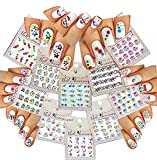 Nail Art Water Slide Tattoo Stickers Adorable Round Tip Flowers/Stars/Butterflies/Umbrellas For an Elegant Manicure 10 - Pack/RTUNI/