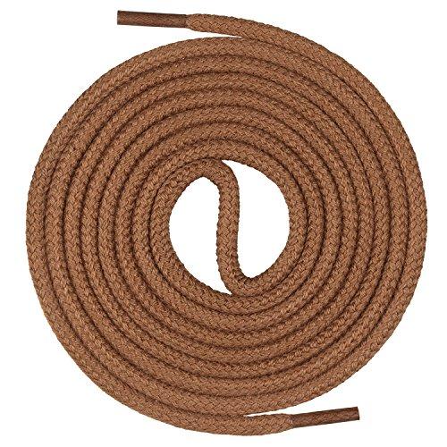 Mount Swiss runde Premium-Schnürsenkel aus 100% Baumwolle - sehr reißfest Farbe Hellbraun Länge 130cm