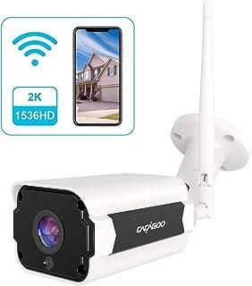 Cámara de Vigilancia Exterior CACAGOO 1536P HD Cámara IP Wi-Fi CCTV Inalámbrica 2.4Ghz Impermeable IP66 Versión NocturnaDetección de Movimiento Empuje de Alarma Vista Remota con Android/iOS/PC